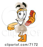 Clipart Picture Of A Bone Mascot Cartoon Character Holding A Telephone by Toons4Biz