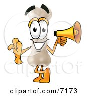 Clipart Picture Of A Bone Mascot Cartoon Character Holding A Megaphone