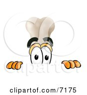Clipart Picture Of A Bone Mascot Cartoon Character Peeking Over A Surface by Toons4Biz