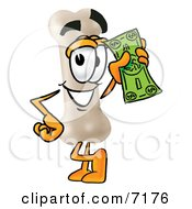 Clipart Picture Of A Bone Mascot Cartoon Character Holding A Dollar Bill