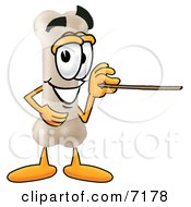Clipart Picture Of A Bone Mascot Cartoon Character Holding A Pointer Stick by Toons4Biz