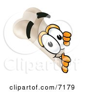 Clipart Picture Of A Bone Mascot Cartoon Character Peeking Around A Corner