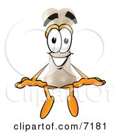 Clipart Picture Of A Bone Mascot Cartoon Character Sitting