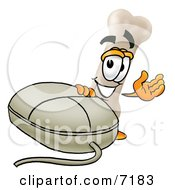 Clipart Picture Of A Bone Mascot Cartoon Character With A Computer Mouse