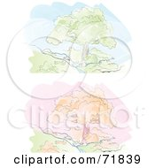 Royalty Free RF Clipart Illustration Of A Digital Collage Of Autumn And Spring Trees Along A Stream by inkgraphics