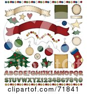Royalty Free RF Clipart Illustration Of A Digital Collage Of Christmas Design Elements by inkgraphics