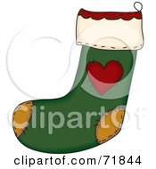 Royalty Free RF Clipart Illustration Of A Green Sewn Folk Christmas Stocking With A Heart by inkgraphics