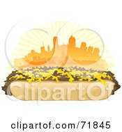 Royalty Free RF Clipart Illustration Of A Philly Cheesesteak Sandwich In Front Of An Orange Skyline by inkgraphics #COLLC71845-0143