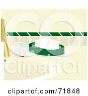 Royalty Free RF Clipart Illustration Of A White Bar Of Soap In A Dish By A Sink