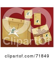 Royalty Free RF Clipart Illustration Of A Digital Collage Of Snowman Christmas Present Items On Red by inkgraphics