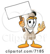 Clipart Picture Of A Bone Mascot Cartoon Character Holding A Blank Sign
