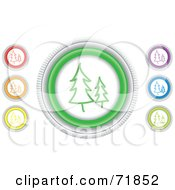 Royalty Free RF Clipart Illustration Of A Digital Collage Of Colorful Round Evergreen Website Buttons