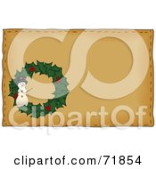 Royalty Free RF Clipart Illustration Of A Holly Snowman Christmas Wreath On Brown by inkgraphics