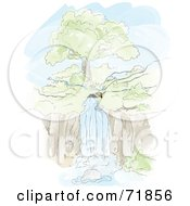 Royalty Free RF Clipart Illustration Of A Beaver By Its Dam In Front Of A River Waterfall by inkgraphics