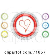 Digital Collage Of Colorful Round Heart Website Buttons
