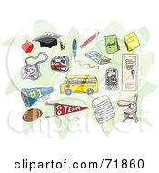 Royalty Free RF Clipart Illustration Of A Digital Collage Of School Items Over Green