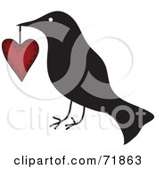 Royalty Free RF Clipart Illustration Of A Crow Carrying A Heart by inkgraphics