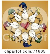 Royalty Free RF Clipart Illustration Of A Circle Of Snowmen Around A Heart On Orange by inkgraphics