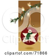 Royalty Free RF Clipart Illustration Of An Illuminated Christmas Tree Branch With A Snowman Bauble by inkgraphics