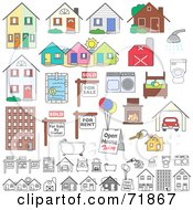 Royalty Free RF Clipart Illustration Of A Digital Collage Of Realty Buildings And Items by inkgraphics