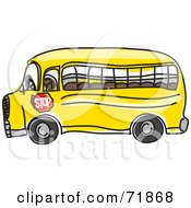 Royalty Free RF Clipart Illustration Of A Side View Of An Empty School Bus With A Stop Sign On The Side