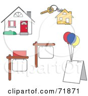 Royalty Free RF Clipart Illustration Of A Digital Collage Of Real Estate Signs Key And House by inkgraphics