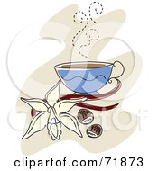 Royalty Free RF Clipart Illustration Of A Steamy Cup Of Coffee With Vanilla A Flower And Nuts