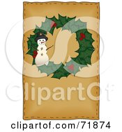 Royalty Free RF Clipart Illustration Of A Holly Christmas Wreath With A Snowman On Brown by inkgraphics