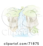 Royalty Free RF Clipart Illustration Of A Sketched Natural Waterfall Over A Cliff