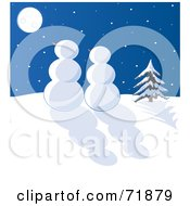 Royalty Free RF Clipart Illustration Of A Snowman Couple Gazing At The Moon On A Winter Night by inkgraphics