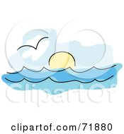 Royalty Free RF Clipart Illustration Of A Seascape With A Gull Over The Water And The Sun On The Horizon by inkgraphics