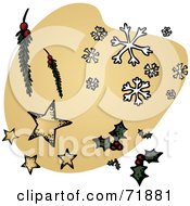 Royalty Free RF Clipart Illustration Of Scattered Christmas Items Over A Beige Shape by inkgraphics
