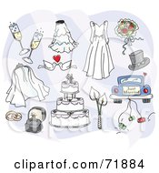 Royalty Free RF Clipart Illustration Of A Digital Collage Of Wedding Day Items