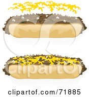 Royalty Free RF Clipart Illustration Of A Digital Collage Of Steak Sandwiches With And Without Cheese