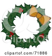 Holly Christmas Wreath With An Orange Bow On White