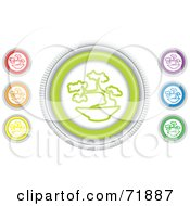 Digital Collage Of Colorful Round Bonsai Website Buttons by inkgraphics