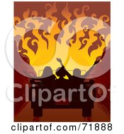 Royalty Free RF Clipart Illustration Of Silhouetted People In A Convertible Car Driving Towards A Fiery Red Sunset by inkgraphics