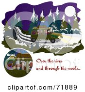 Royalty Free RF Clipart Illustration Of A Family Driving Over A River And Through The Woods On A Wintry Night by inkgraphics