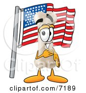 Clipart Picture Of A Bone Mascot Cartoon Character Pledging Allegiance To An American Flag