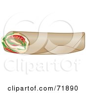 Royalty Free RF Clipart Illustration Of A Fresh Turkey Wrap Sandwich