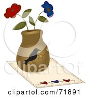 Royalty Free RF Clipart Illustration Of A Crow Vase With Flowers On A Mat
