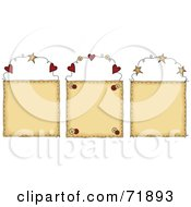 Royalty Free RF Clipart Illustration Of A Digital Collage Of Three Blank Hanging Door Signs