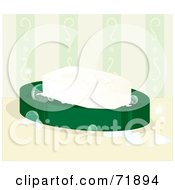 Royalty Free RF Clipart Illustration Of A White Bar Of Soap On A Green Dish With Bubbles