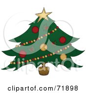 Royalty Free RF Clipart Illustration Of A Wide Decorated Christmas Tree