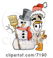 Clipart Picture Of A Bone Mascot Cartoon Character With A Snowman On Christmas