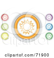 Royalty Free RF Clipart Illustration Of A Digital Collage Of Colorful Round Sun Website Buttons by inkgraphics