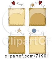 Royalty Free RF Clipart Illustration Of A Digital Collage Of Four Blank Hanging Door Signs
