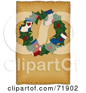 Royalty Free RF Clipart Illustration Of A Holly Christmas Wreath With Stockings On Brown by inkgraphics