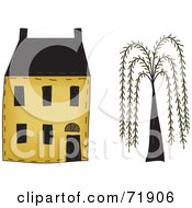 Royalty Free RF Clipart Illustration Of A Yellow Two Story House By A Willow Tree by inkgraphics