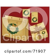 Royalty Free RF Clipart Illustration Of A Digital Collage Of Wreath Christmas Present Items On Red